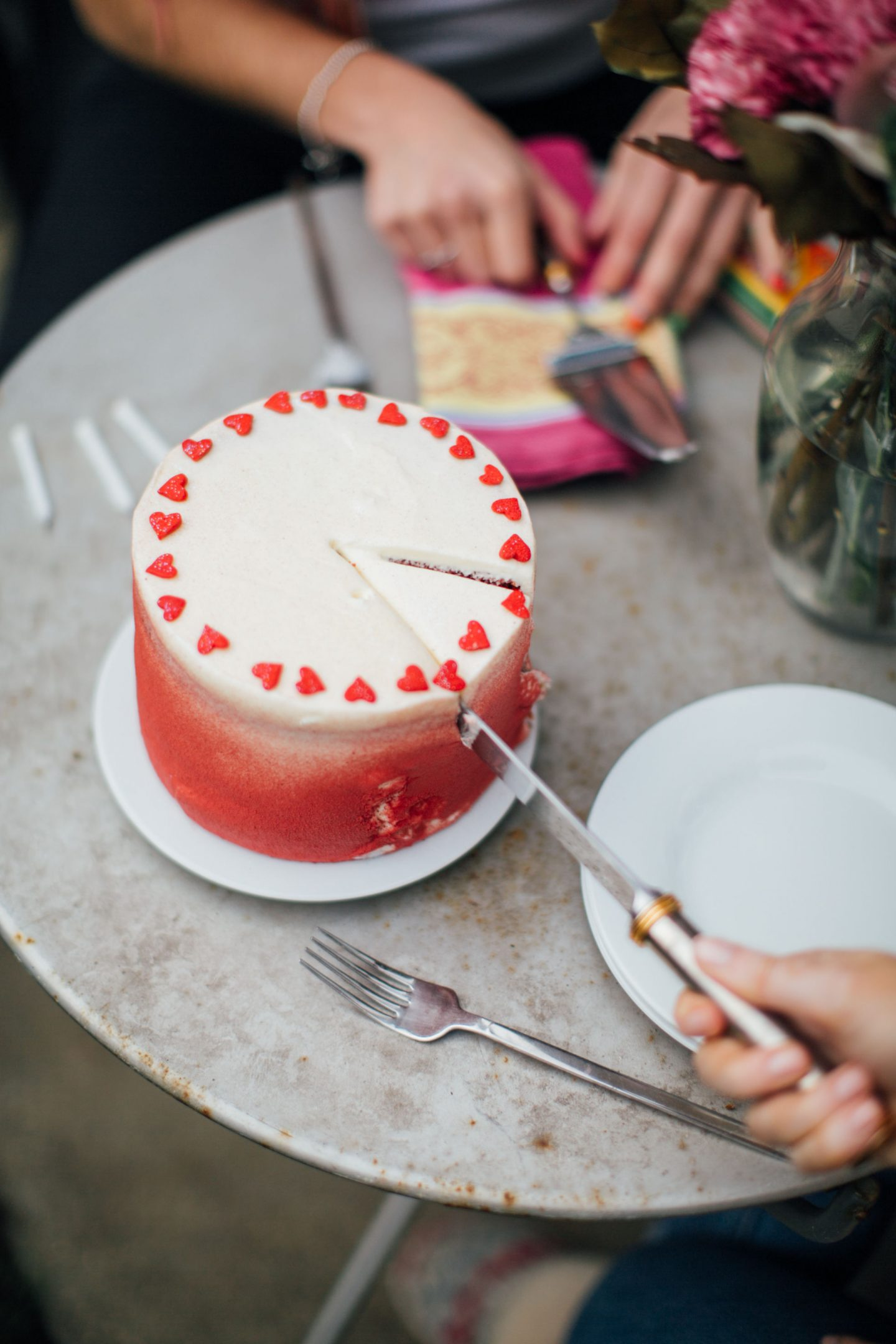 Ombre Red Velvet Birthday Cake
